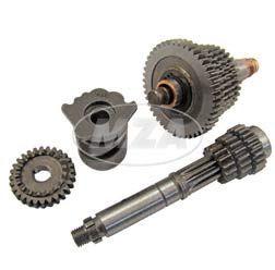 SET Getriebe 4-Gang (SR80 mit langer Übersetzung)  kpl.mit Schaltwalze (Losrad - 44, 40, 36, 32 Z / Festrad - 10, 16, 20, 23 Z) -  f. Simson -Motor M500
