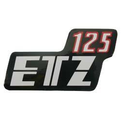 """Aufkleber/Klebefolie Seitendeckel, rot/ schwarz/ weiss """"ETZ 125"""""""