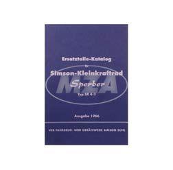 Ersatzteilekatalog, Ersatzteilliste Simson-Kleinkraftrad Sperber SR4-3 - Ausgabe 1966