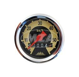 Tachometer, vst. SR2E, SR4-1, KR50, Ø48mm, 60km/h-Version - mit Dichtring, Halteklammer und Plastikmutter zur Befestigung
