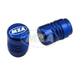 Ventilkappe (2 Stück) Alu blau eloxiert - MZA-Design-Kappe,  inkl. O-Ringe/Dichtungen