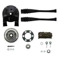 Kettenkit, Kettensatz mit Kleinteilen - für KR51/2 - Mitnehmer Z=34, Rollenkette 112 Glieder, Antriebskettenrad Z=15