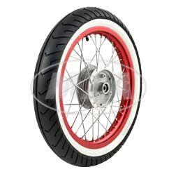 """Rueda delantera comp. - 1,5x16"""" - Llanta aluminio - abrillantado y anodizado rojo , radios cromado  - MITAS-Neumático de banda blanca MC2 montado"""