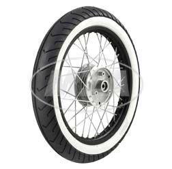 Komplettrad - VORNE - 1,5x16 Zoll - Alufelge schwarz eloxiert und poliert, Edelstahlspeichen - MITAS-Weißwandreifen MC2 montiert