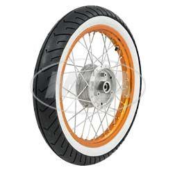 Komplettrad - VORNE - 1,5x16 Zoll - Alufelge orange eloxiert und poliert, Edelstahlspeichen - MITAS-Weißwandreifen MC2 montiert