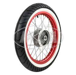 """Rueda trasera comp. - 1,5x16"""" - Llanta aluminio - abrillantado y anodizado negro, radios cromado - MITAS-Neumático de banda blanca MC2 montado"""