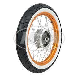 Komplettrad - HINTEN - 1,5x16 Zoll - Alufelge orange eloxiert und poliert, Chromspeichen - MITAS-Weißwandreifen MC2 montiert