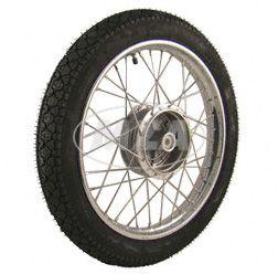 Komplettrad 1,5x16 Zoll, Stahl verchromt - mit Heidenau-Reifen K36/1 montiert (RADNABE: Graugussbremsring (GG), abgedrehte Flanken)
