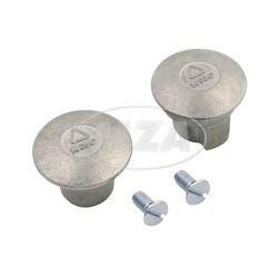 SET- 2x Abschlußpilz, Abschlussstopfen, Abschlußkappe und 2x Senkschraube für Lenkerrohr, links und rechts, passend für MZ, RT, BK, pass. für AWO
