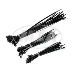 Set Kabelbinder, schwarz, verschiedene Größen, 75 tlg.