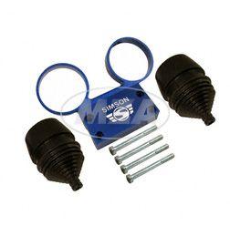 SET Armaturenträger- mit Anbauteilen und Manschetten f. Rundinstrumente ø 60 mm Tacho und DZM  - Alu blau - SIMSON Logo erhaben - S50, S51, S53, S70, S83
