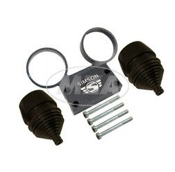 SET Armaturenträger- mit Anbauteilen und Manschetten f. Rundinstrumente ø 60 mmTacho und DZM  - Alu carbon - SIMSON Logo erhaben - S50, S51, S53, S70, S83