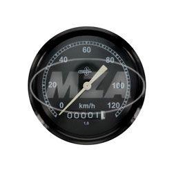 Tachometer BK350 - (Wegdrehzahl 1) - BS 80/120 DIN 75521 - schwarzes Gehäuse, Tachoglas gewölbt