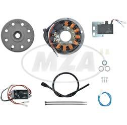 Light magneto ignition system 12V 150W, fits Moto Guzzi TS 250 Elettronica, Benelli 125/ 250 2C