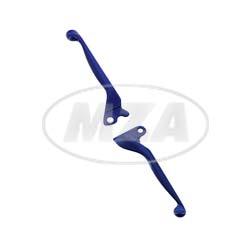 Bremshebel + Kupplungshebel, Alu-massiv, blau - für Scheibenbremse auf SIMSON-Basis - S53, S83, SR50, SR80