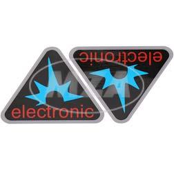 Paar Klebefolien - electronic-Dreieck, Rahmenfarbe: silber - für Seitendeckel S50, S51