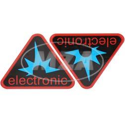 Paar Klebefolien - electronic-Dreieck, Rahmenfarbe: rot - für Seitendeckel S50, S51