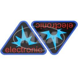 Paar Klebefolien - electronic-Dreieck, Rahmenfarbe: blau - für Seitendeckel S50, S51