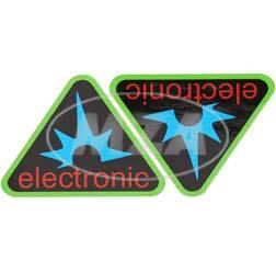Paar Klebefolien - electronic-Dreieck, Rahmenfarbe: grün - für Seitendeckel S50, S51