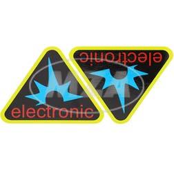 Paar Klebefolien - electronic-Dreieck, Rahmenfarbe: gelb - für Seitendeckel S50, S51