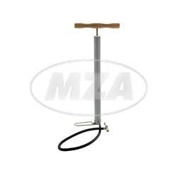 Kfz-Luftpumpe, grau, mit Holzgriff und Schlauch
