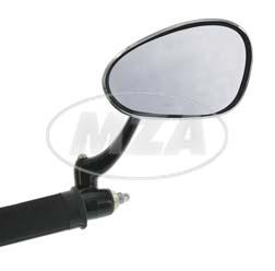 Rückblickspiegel, rechts, chrom - Innenlenkerbefestigung - mit Kunststoffarm schwarz, einklappbar