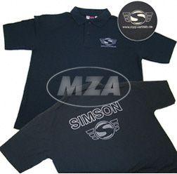 Poloshirt (Polo Pique) naviblau mit Logo Reflexdruck silber S  (mit kleinem Simson-Logo vorne und großem SIMSON-Logo hinten)