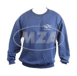 Sweatshirt, Pullover (Classic Sweater U.S. Basics) naviblau mit Logo Reflexdruck silber M (mit SIMSON-Logo, Web Adresse vorne und großem SIMSON-Logo hinten)