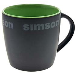 "Tasse, Farbe: matt schwarz, grün - Motiv: """"SIMSON"""""
