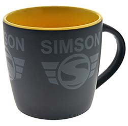 "Tasse, Farbe: matt schwarz, gelb - Motiv: """"SIMSON"""""