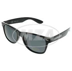 Sonnenbrille m. Kunststoffgestell, schwarz, UV400-Sonnenschutz - Material: Polycarbonat - Bügel beidseitig bedruckt