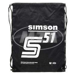 Retro-Sportbeutel - schwarz, mit Kordelzugverschluss - Material: 210D-Polyester - mit Aufdruck: SIMSON S51