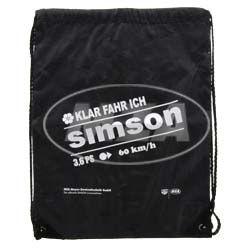 Retro-Sportbeutel - schwarz, mit Kordelzugverschluss - Material: 210D-Polyester - mit Aufdruck: Klar fahre ich SIMSON - 3,6 PS, 60km/h