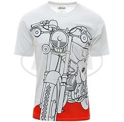 T-Shirt, Farbe: weiß, Größe: S - Motiv: S51 auf Flammrot - 100% Baumwolle