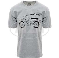 T-Shirt, Farbe: hellgrau meliert, Größe: L - Motiv: Star Basic - 100% Baumwolle