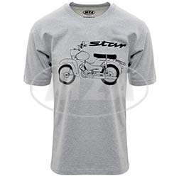 T-Shirt, Farbe: hellgrau meliert, Größe: M - Motiv: Star Basic - 100% Baumwolle