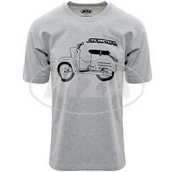 T-Shirt, Farbe: hellgrau meliert, Größe: M - Motiv: Schwalbe Basic - 100% Baumwolle