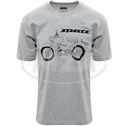 T-Shirt, Farbe: hellgrau meliert, Größe: XS - Motiv: Spatz Basic - 100% Baumwolle