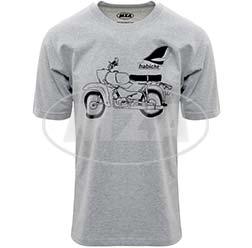 T-Shirt, Farbe: hellgrau meliert, Größe: M - Motiv: Habicht Basic - 100% Baumwolle