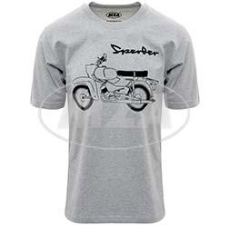 T-Shirt, Farbe: hellgrau meliert, Größe: M - Motiv: Sperber Basic - 100% Baumwolle