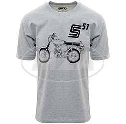 T-Shirt, Farbe: hellgrau meliert, Größe: XS - Motiv: S51 Basic - 100% Baumwolle