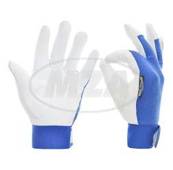 Lederhandschuhe, weiß/blau, Größe: M, Motiv: SIMSON