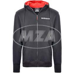 Zipp-Hoodie, schwarz/rot, Größe: XL - Motiv: SIMSON - 80% Baumwolle/ 20% Polyester