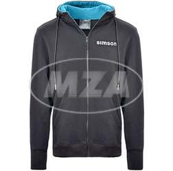 Zipp-Hoodie, schwarz/blau, Größe: XS - Motiv: SIMSON - 80% Baumwolle/ 20% Polyester