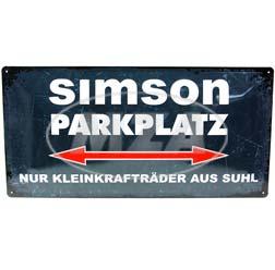 Blechschild 25x50 cm, grau/weiß, Motiv: SIMSON-Parkplatz