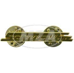 PIN SCHWALBE, Gold - Design gleicht Schriftzug v. Beinblech, Vorderteil bei KR51 - sehr filigrane Arbeit, ca. 38mm breit
