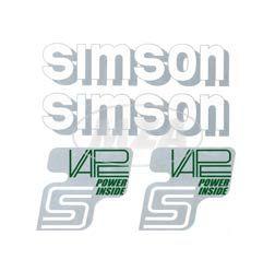 Set Klebefolie, Aufkleber für SIMSON Tank und Seitendeckel, silber/weiß/grün - VAPE-POWER-INSIDE