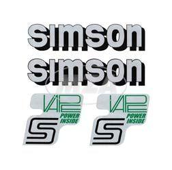 Set Klebefolie/ Aufkleber für SIMSON Tank und Seitendeckel, silber/schwarz/grün, VAPE-POWER-INSIDE