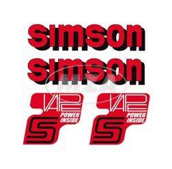 Set Klebefolie/ Aufkleber für SIMSON Tank und Seitendeckel, rot/schwarz/weiß, VAPE-POWER-INSIDE